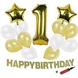 Ballon Decoration Anniversaire 1 An Garcon Fille avec Happy Birthday Guirlande Fanion Or