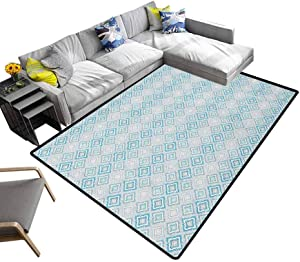 Ikat Floor Mat Aztec Culture Inspired Geometrical Motifs with Cross in The Middle South American for Dining Room Living Room Home Decoration Blue Pale Grey (6'x9')