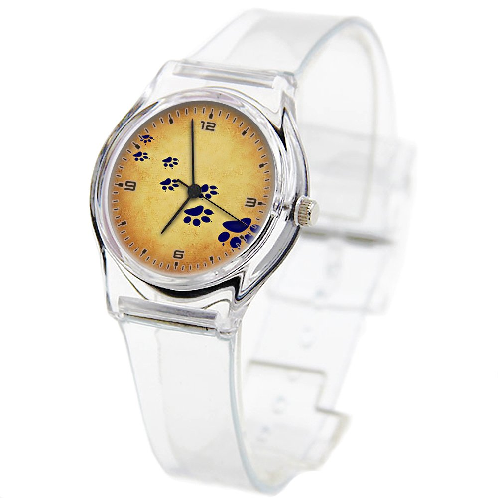 Personality Transparent Wristwatch Transparent Strap Summer Decoration Woman Child Teacher Teen Young Girls Children Kids Watches Colorful Flower-385.Traces Paws Cat's Paw Cat Image Paw