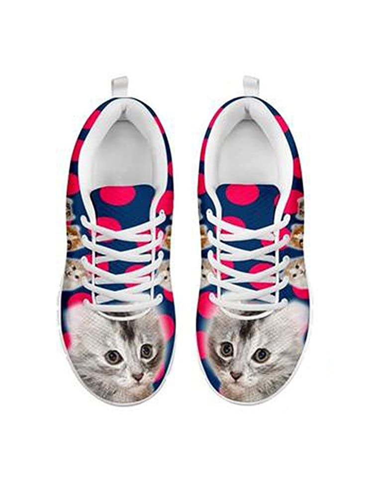 Cute American Curl Cat Print Womens Casual Running Shoes
