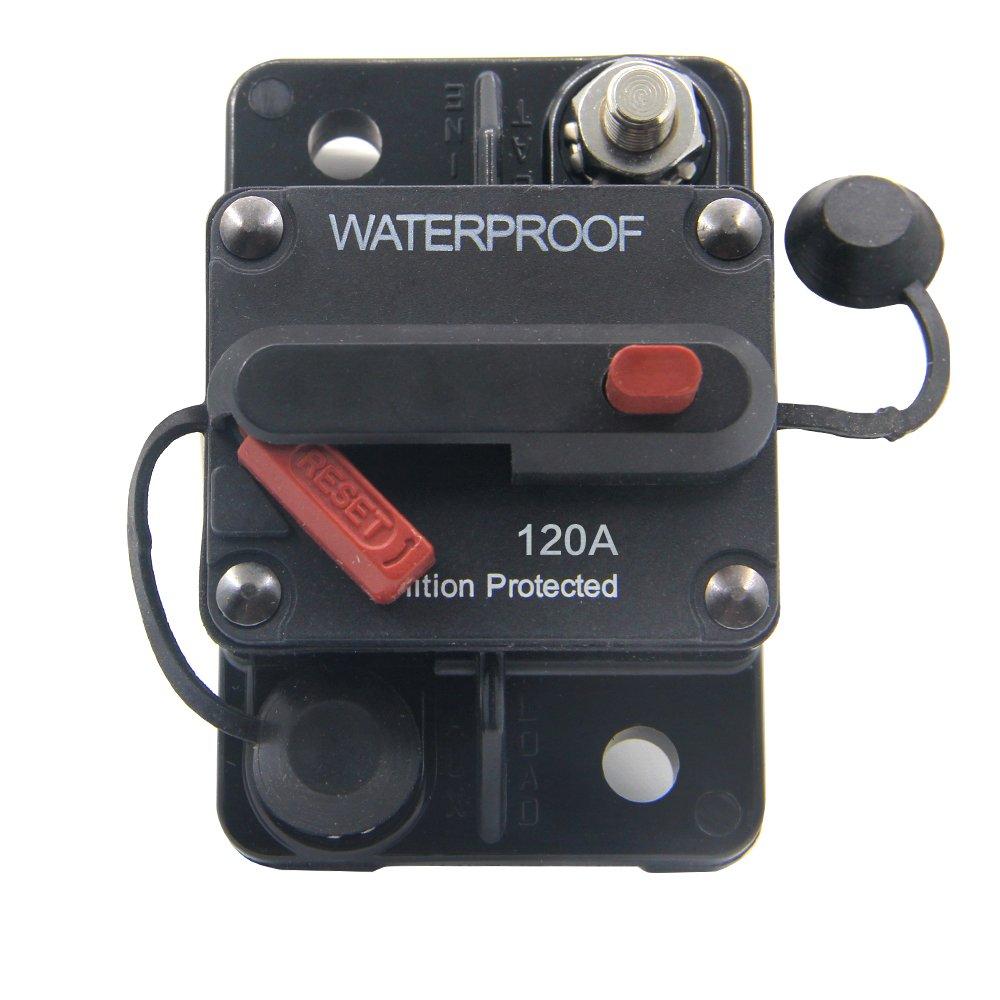 ZOOKOTO 50 Amp Circuit Breaker, Marine Trolling Motors Boat ATV Manual Power Fuse Rest, Waterproof (50A) 12V-48VDC