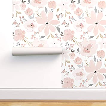 Peel And Stick Removable Wallpaper Flora Blush Watercolor Floral Spring Bedding Large Nursery By Indybloomdesign 12in X 24in Woven Textured Peel And Stick Removable Wallpaper Test Swatch Amazon Com