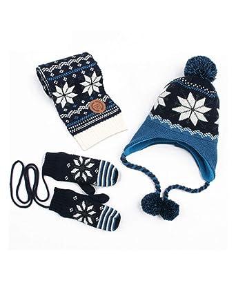 9249bd35be0 Amazon.com  Kids Fleece-Lined Warm Winter Snowflake Hat Scarf Gloves Set  Boys Girls  Clothing