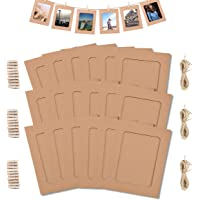 Paper Photo Frame 4x6 Kraft Paper Picture Frames 30 PCS DIY Cardboard Photo Frames with Wood Clips and Jute Twine (Brown…