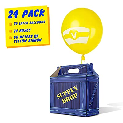 Birthday Party Supplies, Party Favor Boxes, Gaming Box, Supply Drop Box, Goodie Bags, Video Game Box Party Supplies, Battle Royale Boy Party Supplies, Game Party Supplies (24 Pack Orig Design Latex): Toys & Games