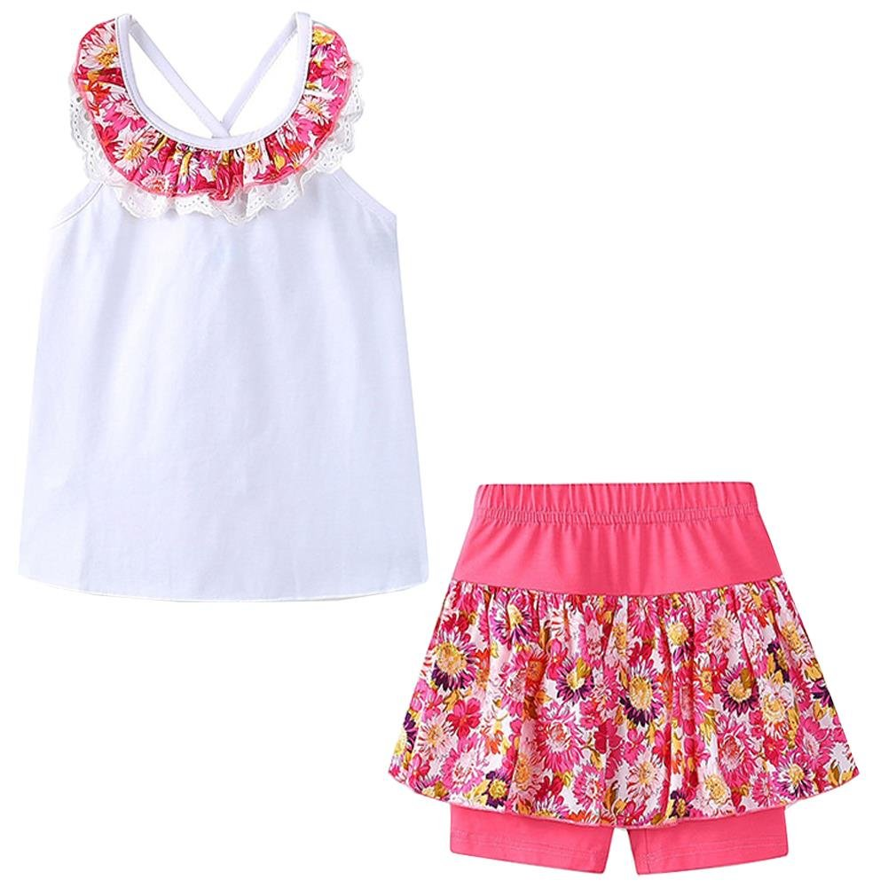 Bleubell Girls Summer Shorts Set Lace Flower Sleeveless 2-8Y
