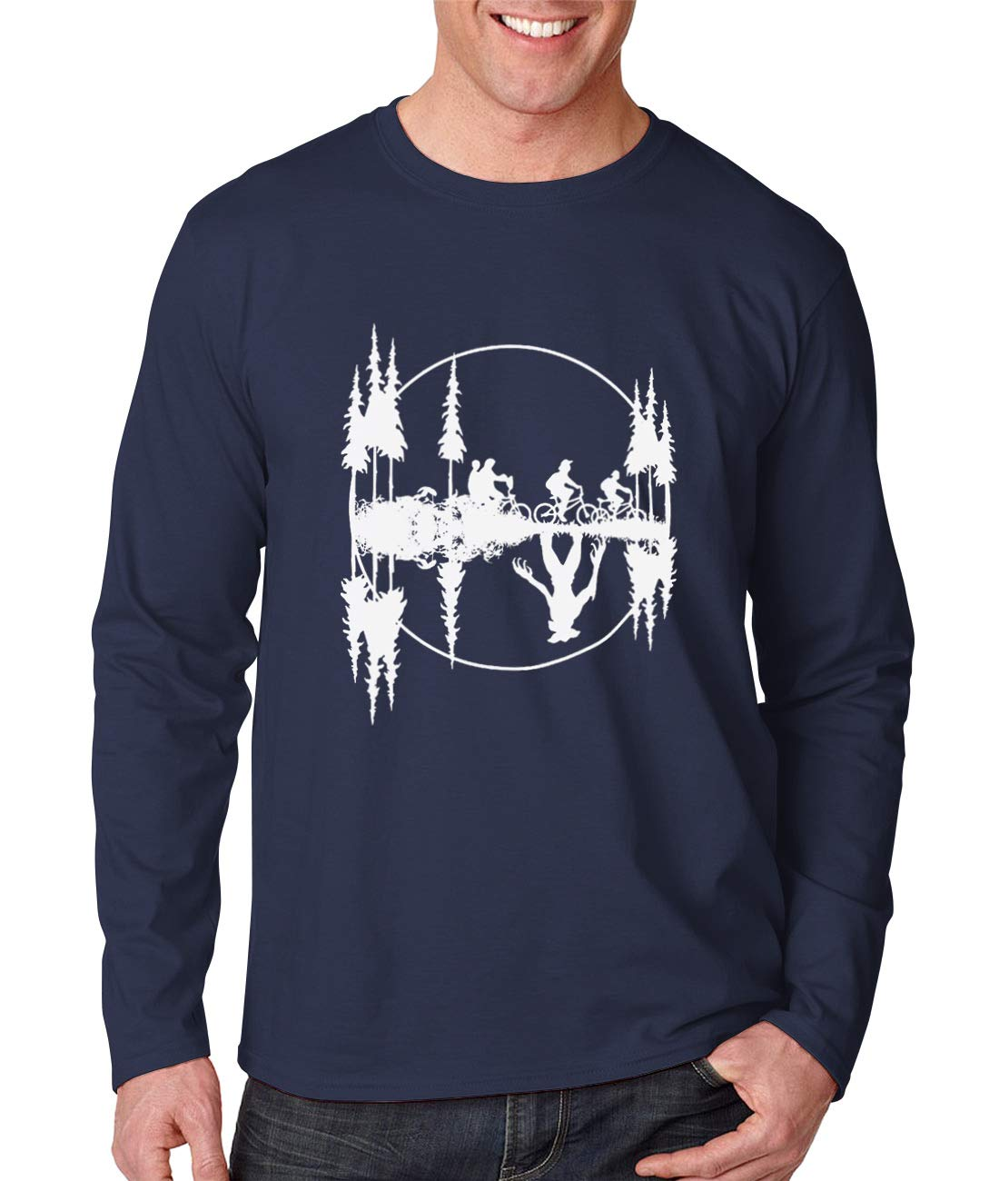 Mens Stranger Things Graphic Shirt Sports Gym Cotton Long Sleeve Tops Blouse, Unisex T-shirt Navy by Fmeijia