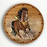 Horse Running in the Wild Beautiful Rustic Artwork 12″ Silent Wall Clock
