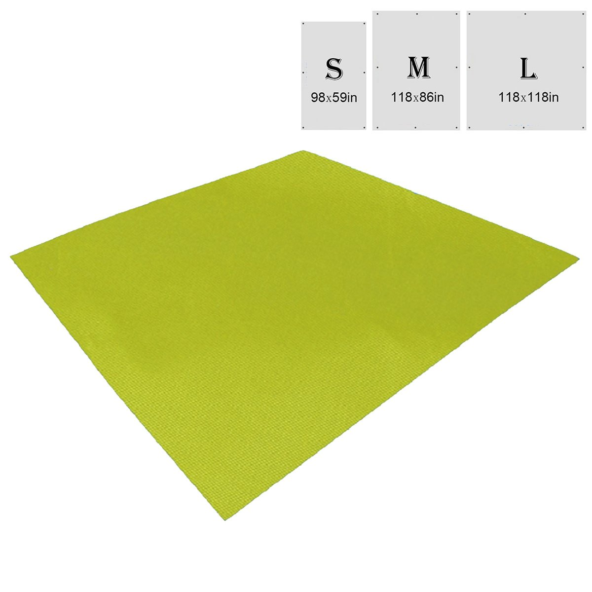 TRIWONDER Waterproof Hammock Rain Fly Tent Tarp Footprint Camping Shelter Ground Cloth Sunshade Mat for Outdoor Hiking Beach Picnic (Green, L - 118 x 118in) by TRIWONDER