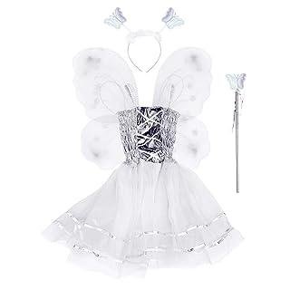 Amosfun Costume Farfalla Ragazze Vestito Ala Bacchetta Fascia Gonna Festa di Pasqua Animale Cosplay Set 4 Pezzi (Rosa)