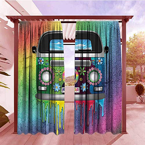 Nfl Revolution Pocket - DGGO Curtains Rod Pocket Two Panels Groovy Decorations Old Style Hippie Van with Dripping Rainbow Paint Mid 60s Youth Revolution Movement Theme Simple Stylish W84x84L Multi