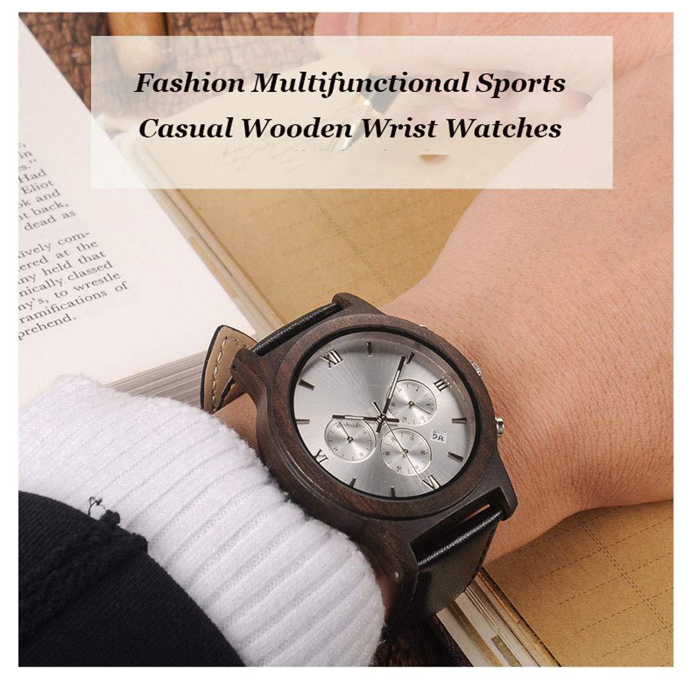 N·XHXL retro träkvartsur för män, mode multifunktions-sport-ledig träarmbandsklocka med äkta läderband, fantastiska presenter till honom vit