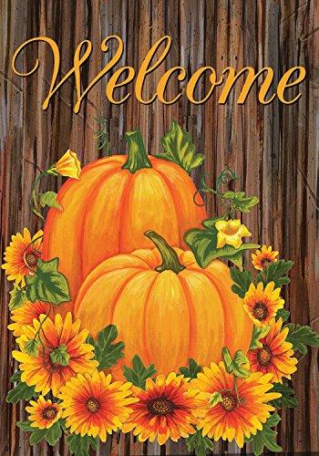 Pumpkins and Mums Fall Welcome Garden Flag Autumn Floral 12.5