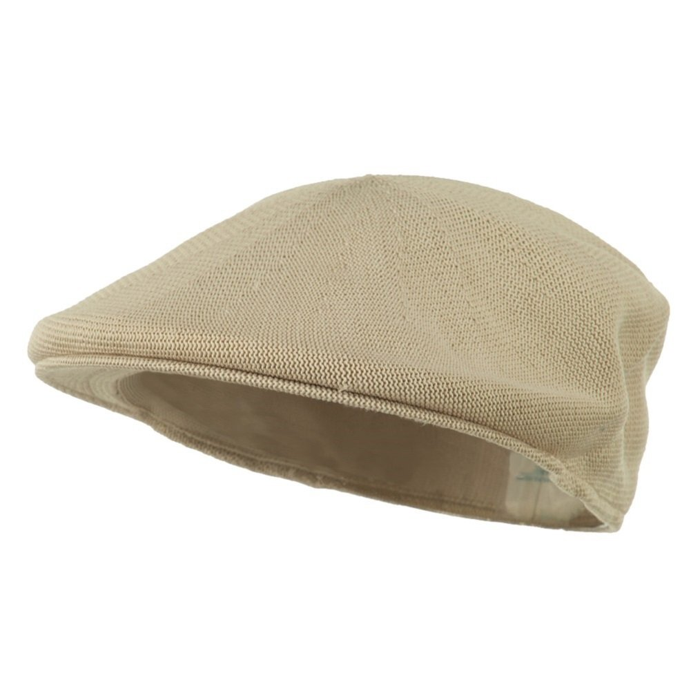 Mens Tan Khaki Knitted Golf Gatsby Ascot Newsboy Cap