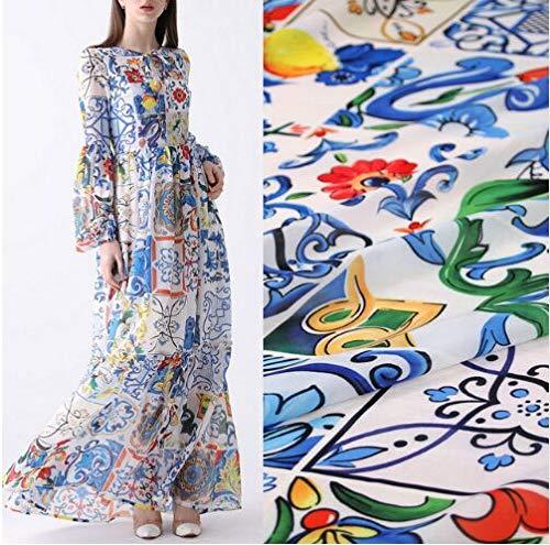 (100X145cm Multicolor Sicilian Majolica Lemon Soft Thin Chiffon Sewing Fabric Cloth for Woman Women Girl Summer Dress Long Beach Diy-Af563)