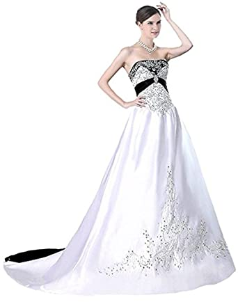 LEJY Women\'s Stain Embroidery Wedding Dress Strapless Bridals Gowns ...