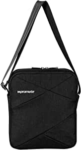 Promate Laptop Messenger Bag, Lightweight Water Resistance Up to 9.7 Inch with Tablet Pocket, Adjustable Strap and Accessories Storage for Laptops, Tablets, Document, Trench-S Black