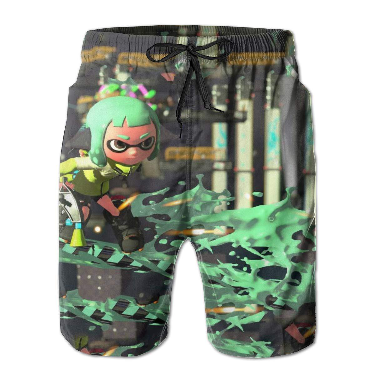 8Lucky Mens Swimming Trunks Quick Dry Beach Board Shorts Mesh Lining Splatoon-2 Printed Summer Casual Drawstring Pants