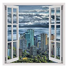 "Alonline Art - Skyline Of Canada Fake 3D Window VINYL STICKER DECAL 28""x28"" - 71x71cm Wall Art Stickers Wall Stickers Vinyl Wall Decal For Bedroom Wall Decor Sticker Adhesive Vinyl Decal Artwork"