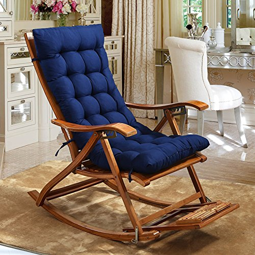 JiaQi Thicken Rocking Chair,Indoor Universal Seat Cushions,Soft One-Piece Chair pad with Ties Tatami Tailbone Pain Back Pain-Dark Blue -