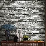 Blooming Wall Faux Rustic Brick Wallpaper Roll for Livingroom Bedroom, 20.8 In32.8 Ft=57 Sq Ft,gray