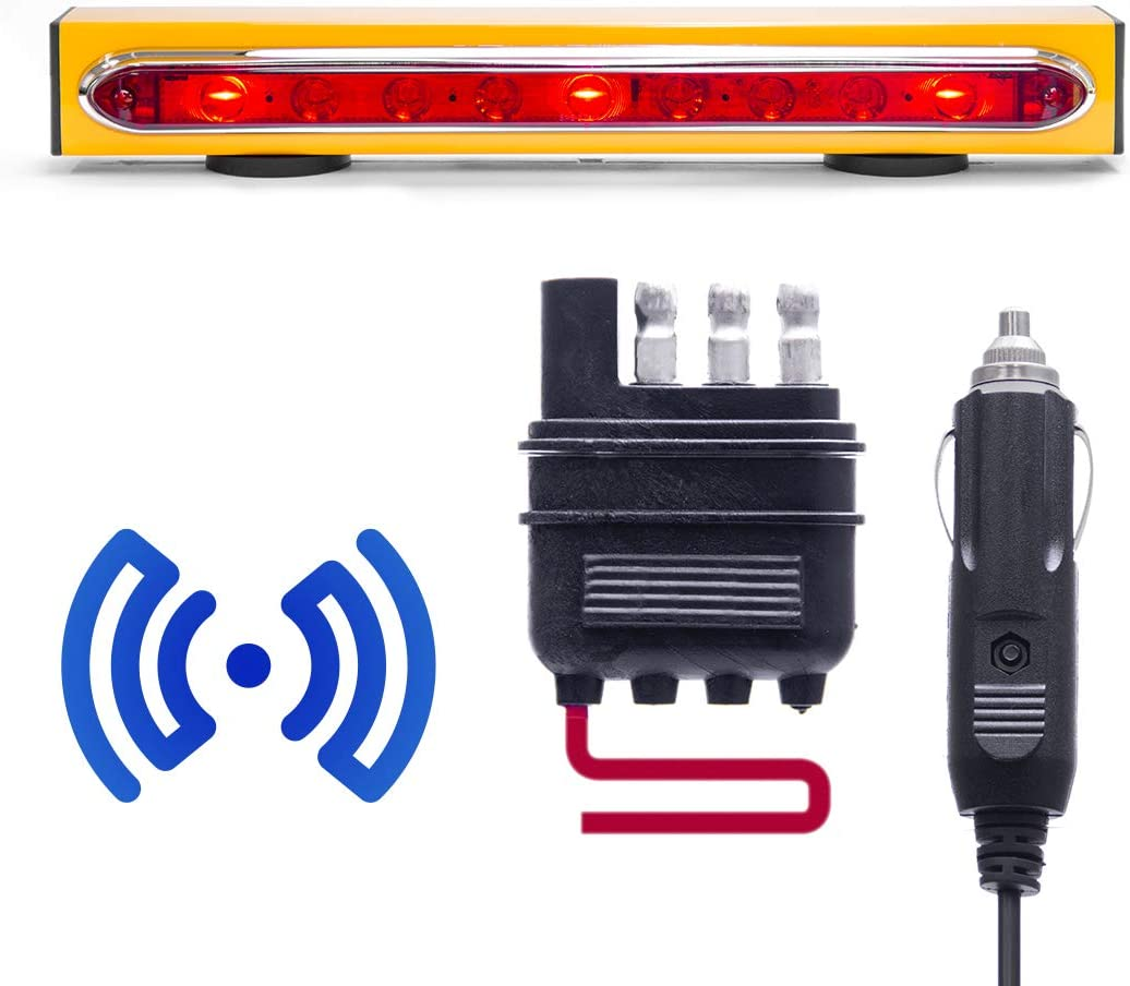 4 Pin Blade Connection Magnetic Mount 48 Feet Range Master Tailgaters Wireless Trailer Tow Lights