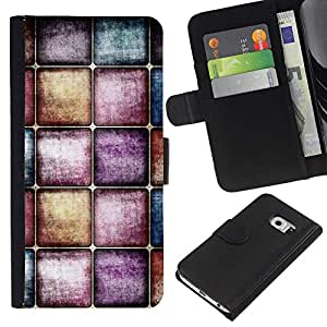 KingStore / Leather Etui en cuir / Samsung Galaxy S6 EDGE / Wallpaper Arte Moderno Random Dise?o de Interiores