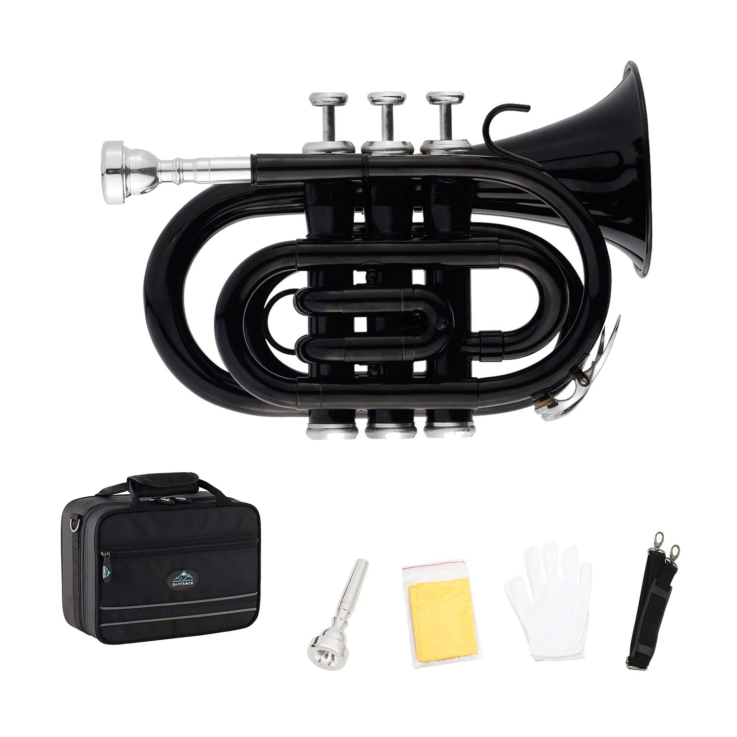 EastRock Pocket Trumpet Black Laquer Brass Bb Pocket Trumpet for Beginners or Students, Intermediate Players with Standard 7C Trumpet Mouthpiece,Hard Case,Strap,White Gloves&Cleaning Cloth by EASTROCK