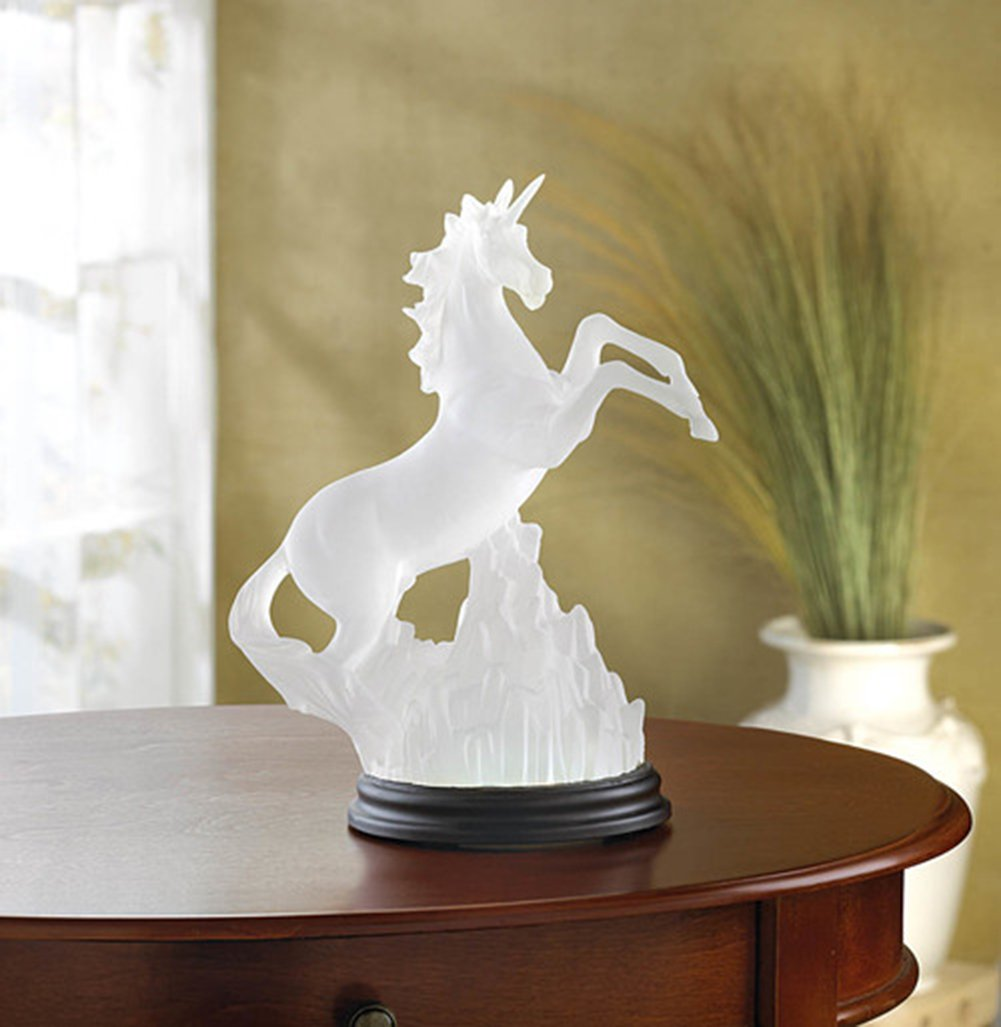 Fennco Styles Color-Change Frosted Unicorn LED Light Home Décor Dazzling Figurine