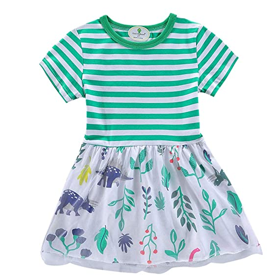 Mitlfuny Verano Vestido Niños Niña Manga Corta Rayas Tulle Costura Camiseta  Faldas Lindo Hojas Dinosaurio Impresión 7fc4aa8e66c