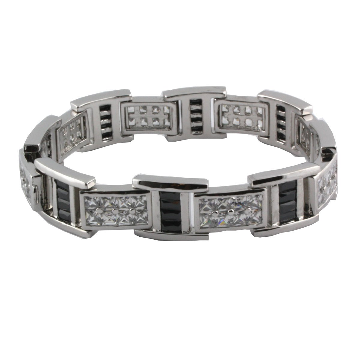 Sterling Silver 8 1/4 Inch Princess Cut Channel Set Bracelet