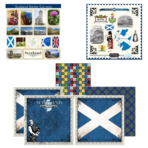 Scrapbook Customs Themed Paper and Stickers Scrapbook Kit, Scotland Sightseeing by Scrapbook Customs