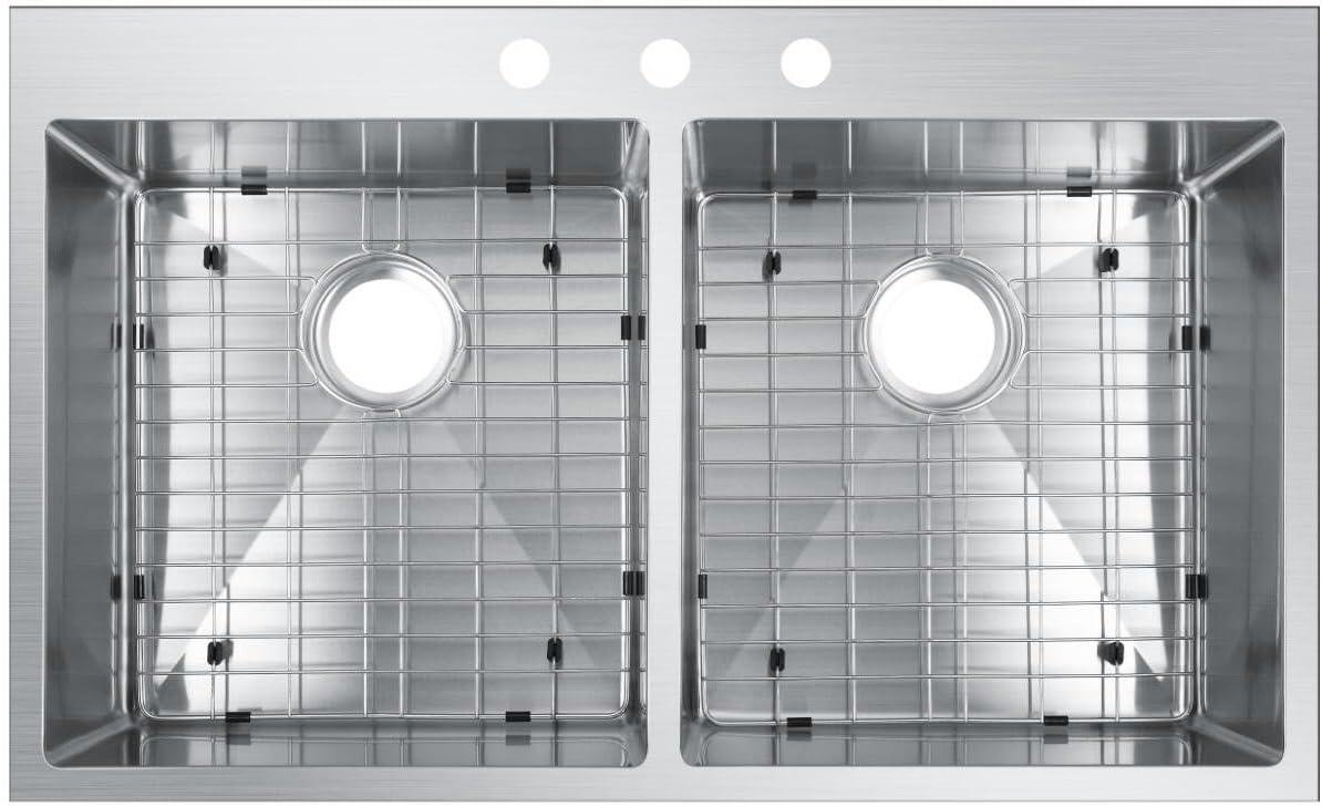 Starstar 36 X 22 Top-mount 50//50 Double Bowl Kitchen Sink Drop-in 304 Stainless Steel 16 Gauge Set