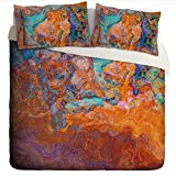 King Duvet Cover with abstract art, in turquoise and orange, Southwest Archetype