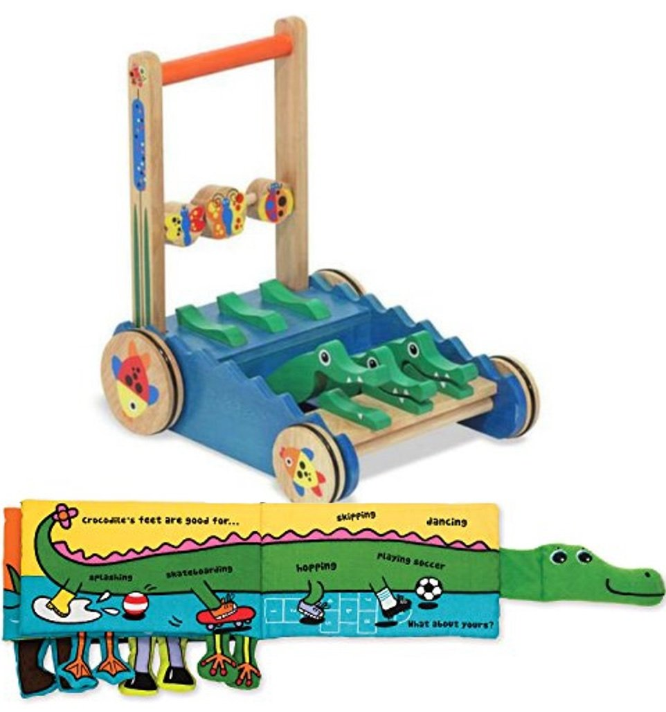 Bundle Includes 2 Items - Melissa & Doug Deluxe Chomp and Clack Alligator Wooden Push Toy and Activity Walker and Melissa & Doug Soft Activity Baby Book - Whose Feet?
