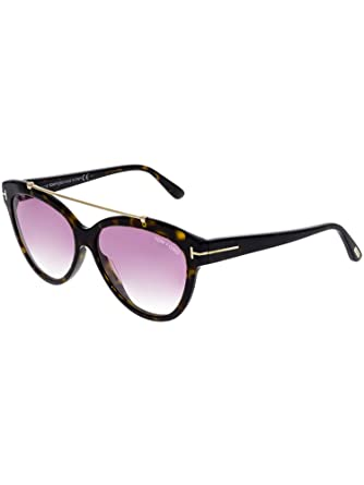 daa581cfc997 Image Unavailable. Image not available for. Color  Tom Ford FT0518 52Z Shiny  Dark Havana Livia Cats Eyes Sunglasses ...