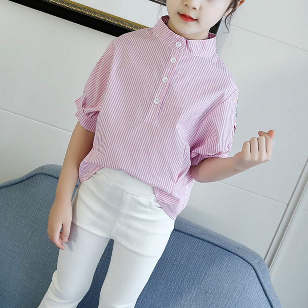 Girls Short Sleeve Button Down Simple Shirt School Uniform