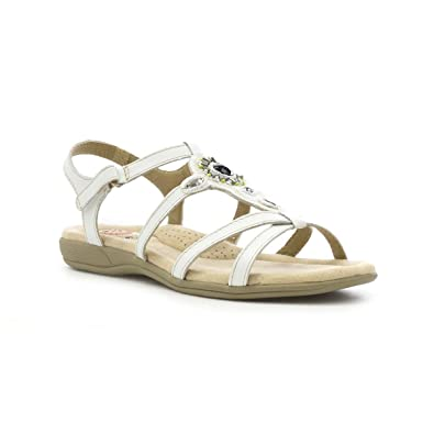 4ebc3a27c51 Earth Spirit Womens White Leather Flat Sandal  Amazon.co.uk  Shoes ...