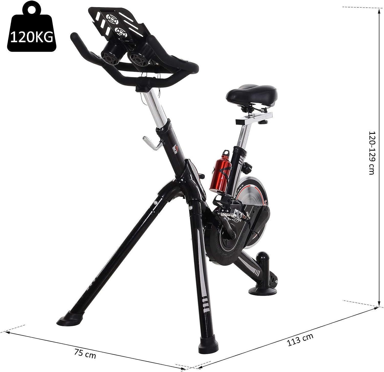 Homcom V/élo dappartement Cardio v/élo de Biking Haute Performance /écran Multifonction Selle et Guidon r/églable Support Tablette Gourde Noir Rouge