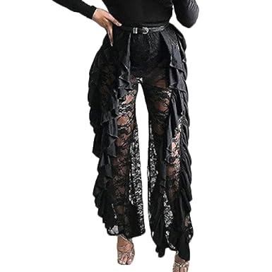b711480cb1 Amazon.com  FULA-bao Women High Waist See Through Lace Mesh Ruffle Pants  Swimsuit Bikini Bottom Cover up  Clothing