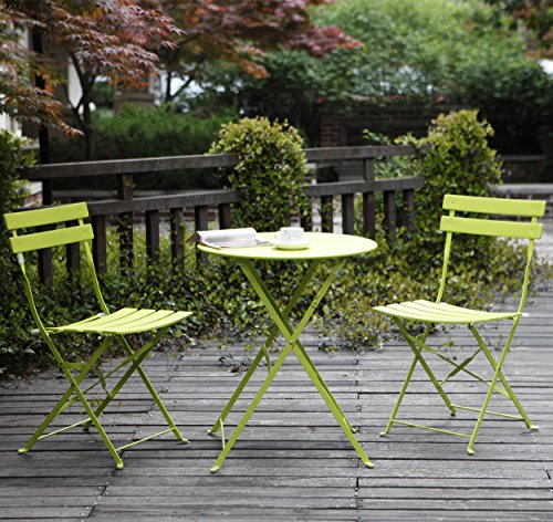 Grand Patio Premium Steel Patio Bistro Set, Folding Outdoor Patio Furniture Sets, 3 Piece Patio Set of Foldable Patio Table and Chairs, Green