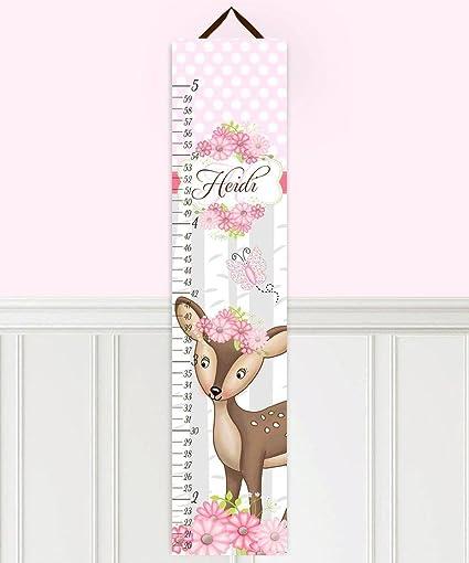 Amazon Kids Canvas Growth Chart Sweet Deer Pink Flowers Girls
