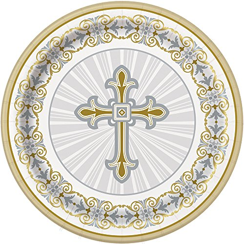 Gold Church Cross - Gold & Silver Radiant Cross Religious Dinner Plates, 8ct