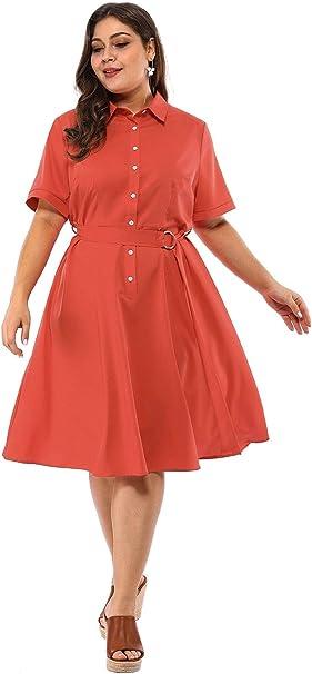 Agnes Orinda Women\'s Plus Size Retro Solid Button Down Flared Shirt Dress