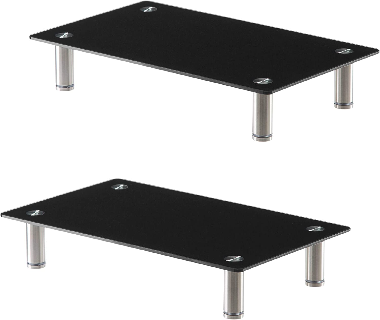 Height Adjustable Glass Monitor Stand 2 Pack - 16 x 9.5 Inch Black Desktop Risers for Computer Monitors, Laptop, TV, Printer & More