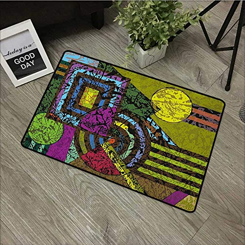(Printed Door mat W19 x L31 INCH Abstract,Grunge Pattern with Murky Trippy Geometric Figures Dynamic Circle Illustration, Multicolor Non-Slip, with Non-Slip Backing,Non-Slip Door Mat Carpet)