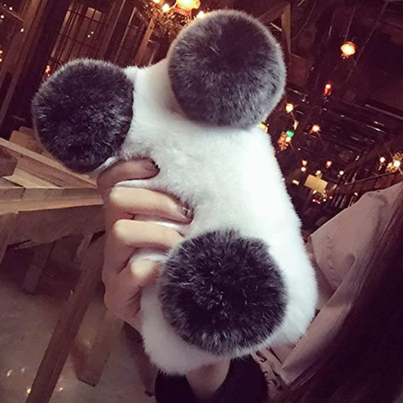 outlet store 091be 4075a Plush Cover for iPhone 5 5S SE Case LAPOPNUT Cute Panda Case Luxury Soft  Fluffy Furry Shockproof Back Cover with Chic Bling Crystal ...