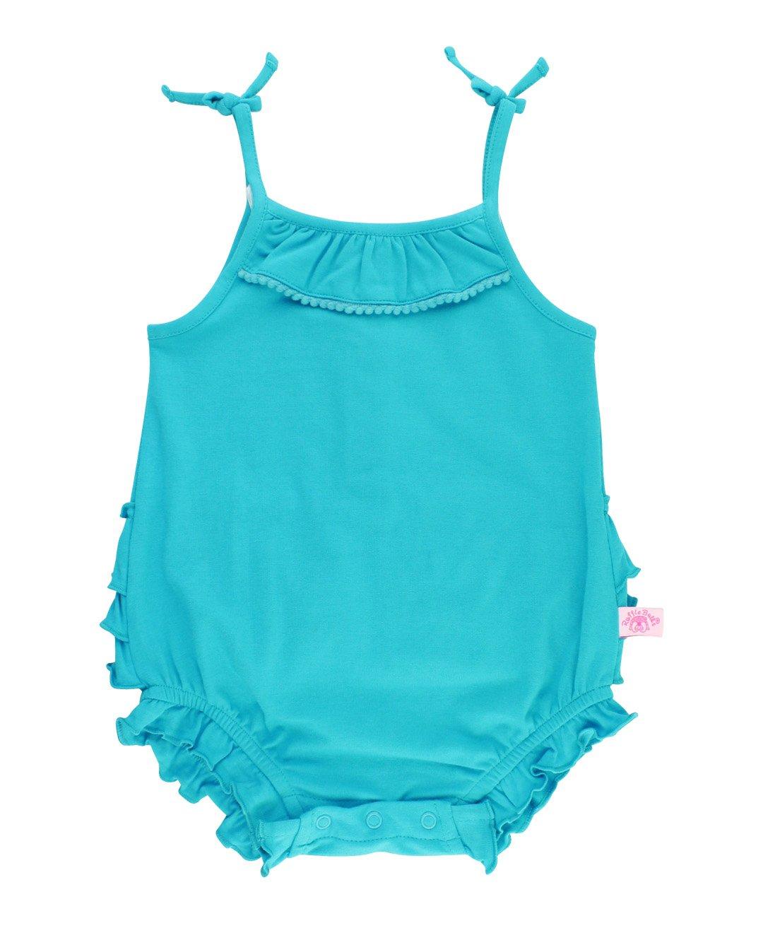 RuffleButts Little Girls Key West Pom Pom Bubble Romper - 12-18m