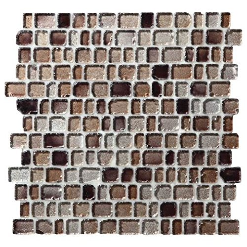 (Daltile Jewel Tide Beach Pebble 12 x 12 Glass Mosaic Backsplash Tile JT02)