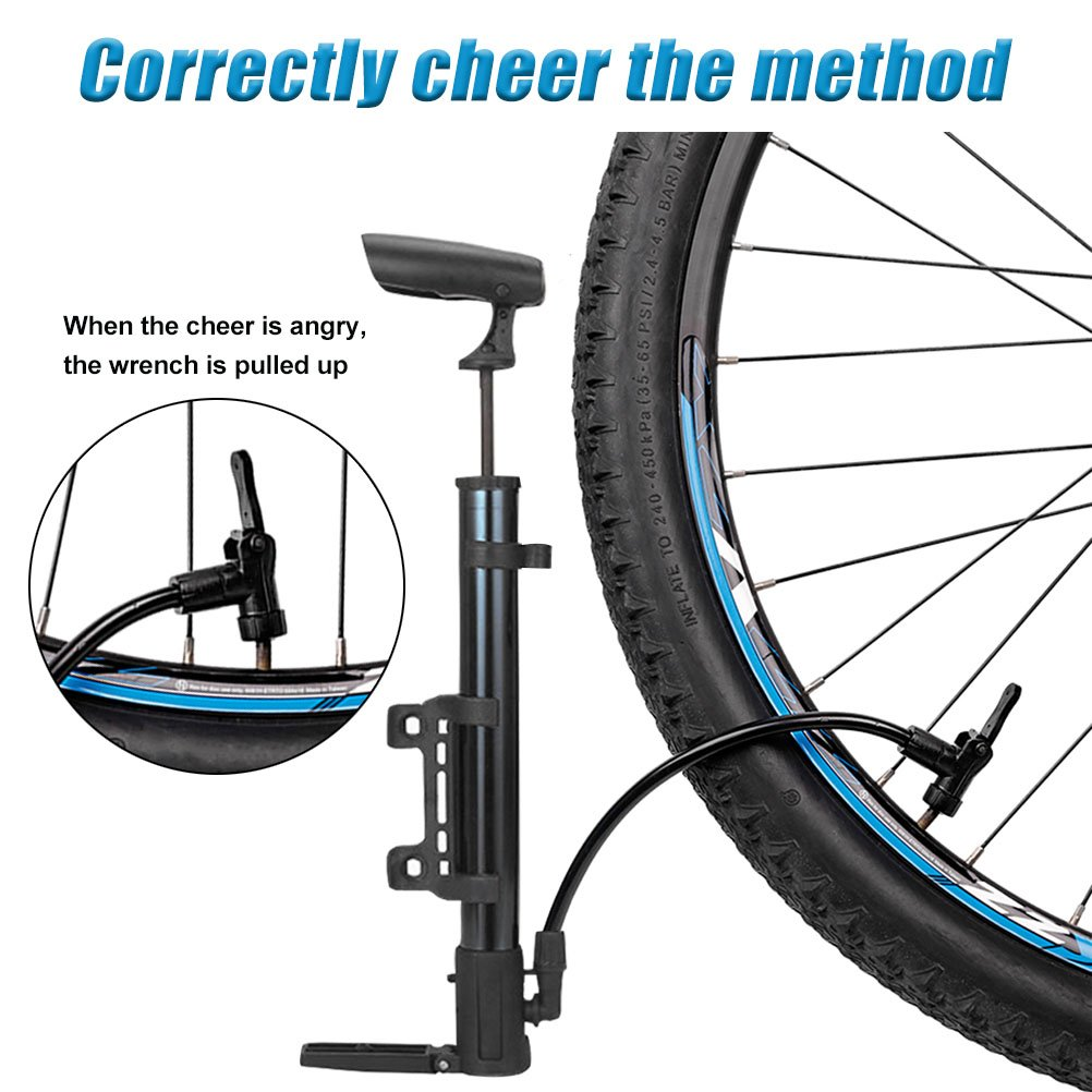 Mini bicicleta bomba para válvulas Presta Schrader válvula odowalker deportes pelota bomba con aguja Calibre 5 pack-needle barril de aleación de aluminio ...